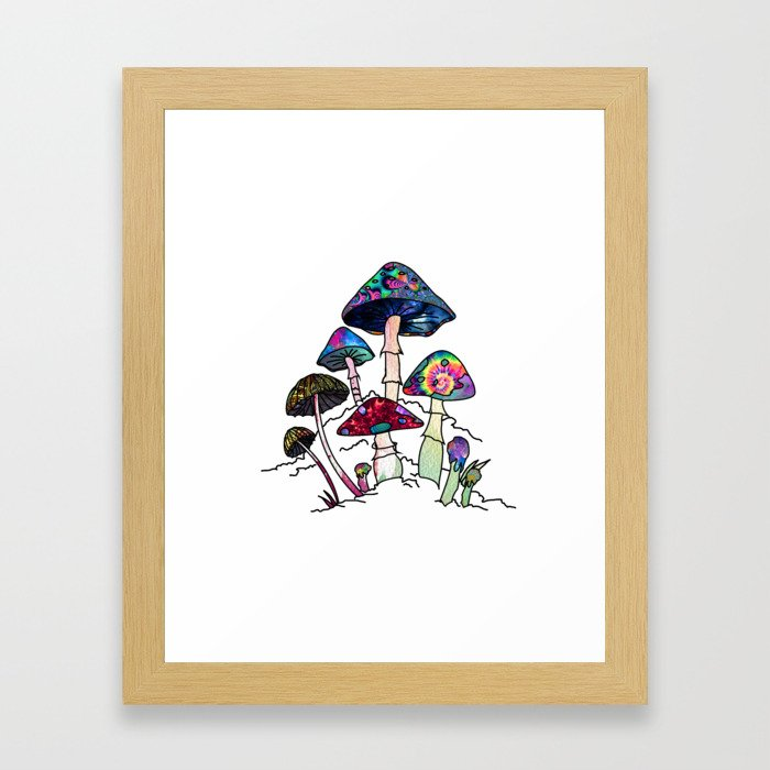 Garden of Shrooms Framed Art Print