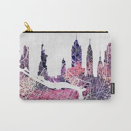 New York Skyline + Map Carry-All Pouch