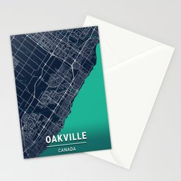 Oakville Blue Dark Color City Map Stationery Cards