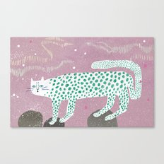 Show leopard in pink skies Canvas Print