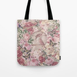 Romantic Flower Pattern And Birdcage Tote Bag