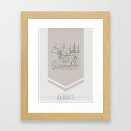 Lodge series - Deer (cream) Framed Art Print