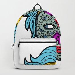 Female Calavera Sugar Skull Mono Line Backpack