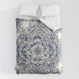 Floral Diamond Doodle in Dark Blue and Cream Comforters
