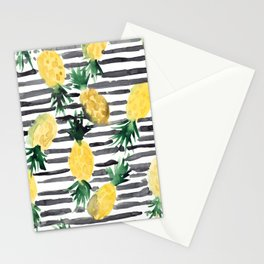 fresh pineapples on stripes watercolor Stationery Cards