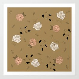 Pink a White Roses and Peonies Flower pattern. Art Print