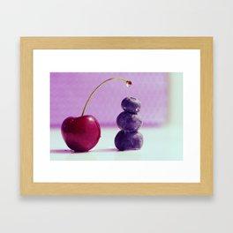 Food Design fresh Cherry and Bluebeeries Framed Art Print