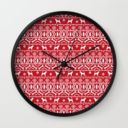 Bloodhound fair isle christmas sweater red and white minimal dog silhouette holiday gifts Wall Clock