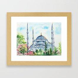Istanbul watercolor Framed Art Print