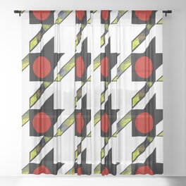 HOUNDSTOOTH PATTERN WITH POLKA DOT EFFECT Sheer Curtain