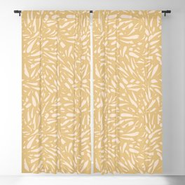 Bamboo Leaves in Light Gold / Ink Mood Blackout Curtain