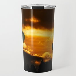 Exotic and magnificent afternoon at Sunset time and hot air balloon on dark and gold fuzzy sky Travel Mug