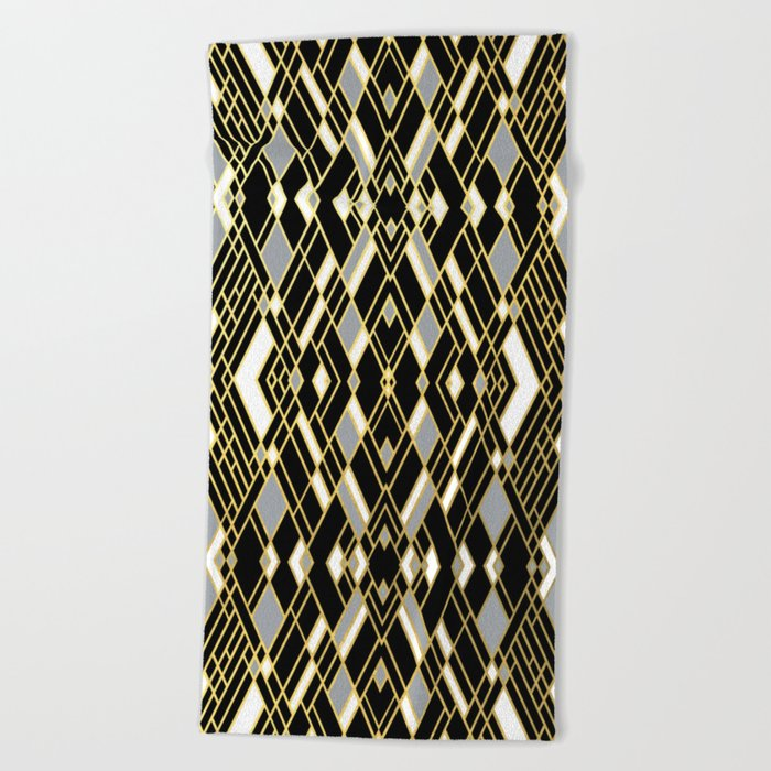 Art Deco Grey Gold Beach Towel