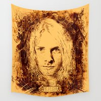 kurt cobain Wall Tapestries featuring 27 Club - Cobain by MUSENYO