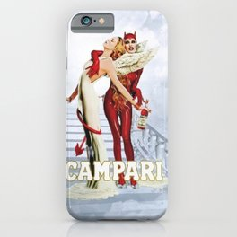 Vintage Campari Italian Bitters Angel and Devil - Stairway to Heaven Advertisement Poster iPhone Case