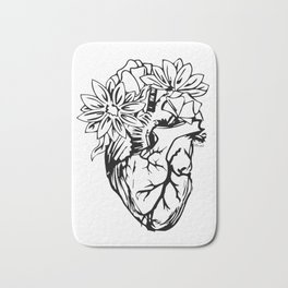 Floral Mexican Heart - black and white Bath Mat
