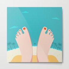 Feet on Beach Metal Print