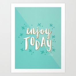 Enjoy Today – Mint & Gold Palette Art Print