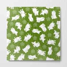 Ditsy Goat Green Metal Print