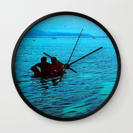Relaxing in Tropical Paradise at End of Day Wall Clock