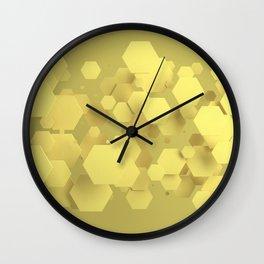 Yellow hexagons Wall Clock