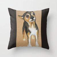 chihuahua Throw Pillows featuring Chihuahua by PaperTigress