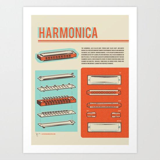 Harmonica Art Print