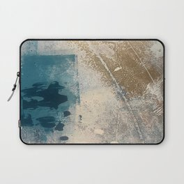 Embrace: a minimal, abstract mixed-media piece in blues and gold with a hint of pink Laptop Sleeve