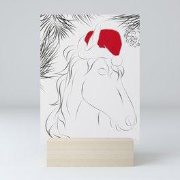Christmas time, red hat, santa hat, santa horse, xmas  Mini Art Print