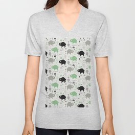 Seamless pattern with cute baby buffaloes and native American symbols, white Unisex V-Neck