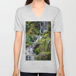 USA Nature Stream Waterfalls park Moss stone Creek brook Creeks Streams Parks Stones Unisex V-Neck