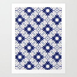 Watercolor Shibori Blue Art Print