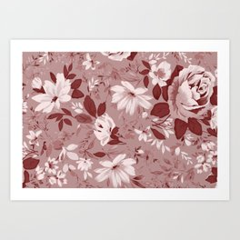 Floral Pink Roses and Flowers Art Print