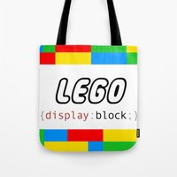 pun Tote Bags featuring CSS Pun - Lego by iwantdesigns