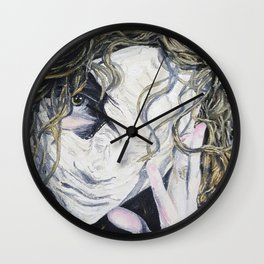 Oil paint on canvas painting of a woman behind a blank mask with a pained eye Wall Clock