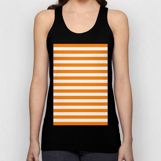 Horizontal Stripes (Orange/White) Unisex Tank Top