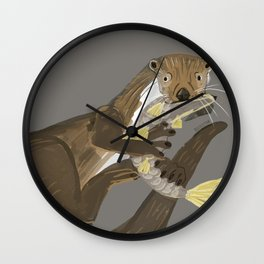 Old World otters Wall Clock