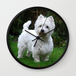 Westie in the garden Wall Clock