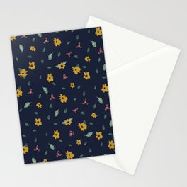 Pencil floral – navy & gold Stationery Cards