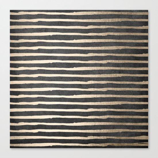 White Gold Sands Thin Stripes on Black Canvas Print