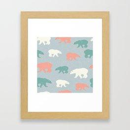 Green White And Red Bear Framed Art Print