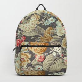Gray Gold White Rose Pattern Backpack