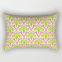 Floral Scallop Pattern Chartreuse and Pink Rectangular Pillow