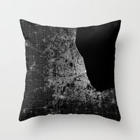 chicago map Throw Pillows featuring Chicago map by Line Line Lines
