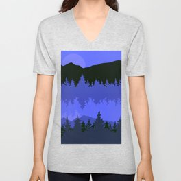 Blue Tone Forest and Lake Landscape at Sunset Unisex V-Neck