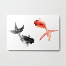 Two KOI , Feng Shui, Fish art, Metal Print