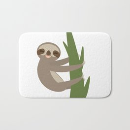 Three-toed sloth on green branch on white background Bath Mat