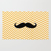 mustache Area & Throw Rugs featuring Mustache by Amanda Merlin