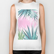 Tropical leaves pink and turquoise Biker Tank
