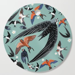 Swallows Martins and Swift pattern Turquoise Cutting Board